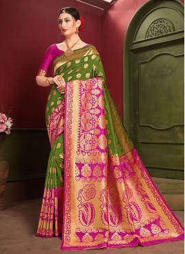 Art Silk Contemporary Saree in Green