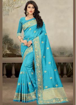Art Silk Designer Traditional Saree in Navy Blue