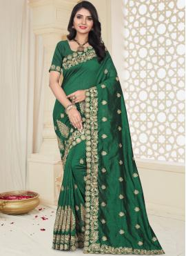Art Silk Embroidered Designer Traditional Saree in Green
