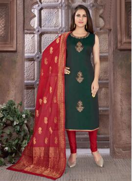 Art Silk Embroidered Green Readymade Suit