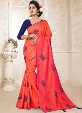 Art Silk Embroidered Traditional Designer Saree in Red