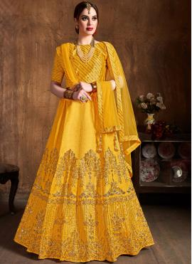 Art Silk Embroidered Yellow Lehenga Choli