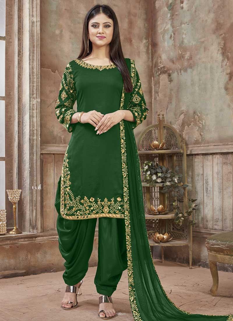 Art Silk Green Embroidered Designer Patiala Salwar Kameez