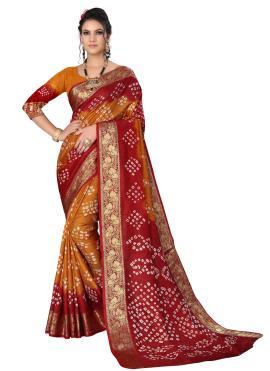 Art Silk Maroon and Mustard Traditional Designer Saree