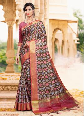 Art Silk Multi Colour Printed Casual Saree