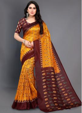 Art Silk Mustard Abstract Print Traditional Designer Saree