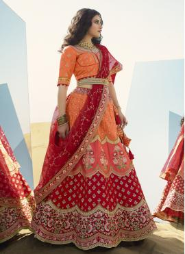 Art Silk Orange and Red A Line Lehenga Choli