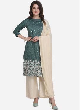 Art Silk Palazzo Salwar Suit in Teal