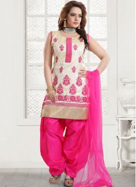 Art Silk Pink Embroidered Designer Patiala Suit