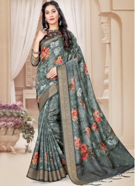 Art Silk Printed Saree in Multi Colour