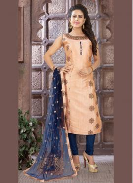 Art Silk Readymade Salwar Kameez in Brown