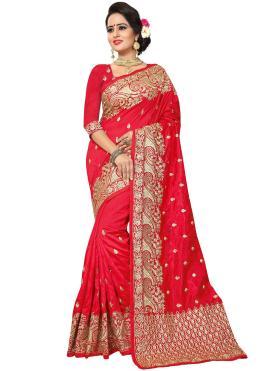 Art Silk Resham Red Traditional Designer Saree