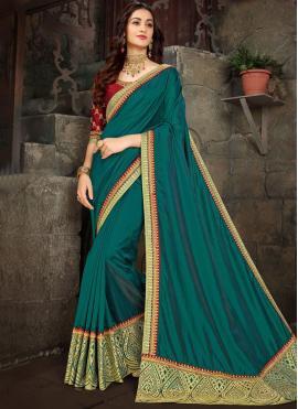 Art Silk Teal Trendy Saree