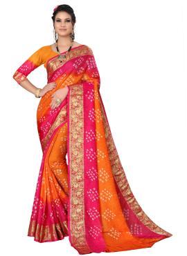Art Silk Traditional Designer Saree in Hot Pink and Orange