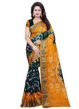 Art Silk Traditional Saree in Green and Orange