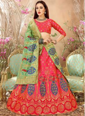 Art Silk Weaving Lehenga Choli in Rose Pink
