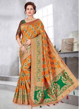 Art Silk Weaving Orange Traditional Designer Saree
