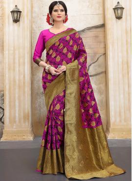 Art Silk Weaving Traditional Designer Saree in Magenta
