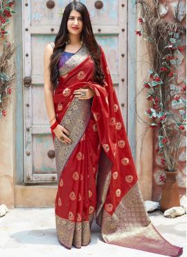 Art Silk Woven Red Traditional Designer Saree
