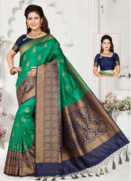 Art Silk Zari Green Designer Traditional Saree