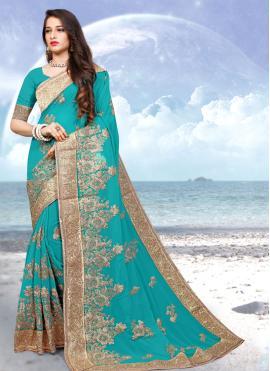 Artistic Aqua Blue Wedding Designer Saree