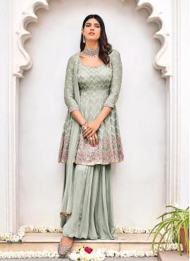 Artistic Faux Georgette Embroidered Grey Readymade Suit