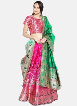 Artistic Hot Pink Mehndi Lehenga Choli