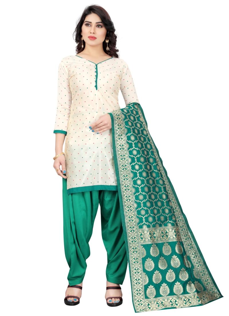 Artistic Off White and Rama Festival Designer Patiala Suit