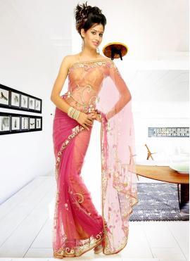 Artistic Pink Sangeet Designer Saree