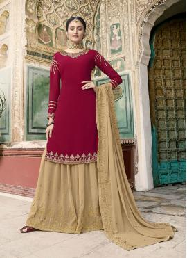Aspiring Embroidered Rani Faux Georgette Designer Pakistani Suit