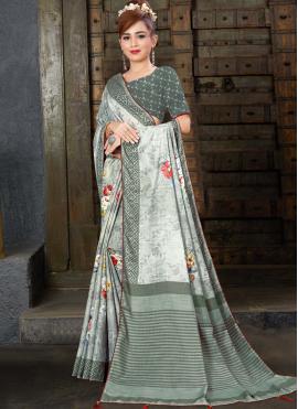 Aspiring Linen Grey Trendy Saree