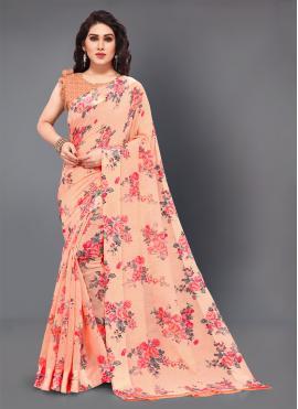 Aspiring Peach Printed Designer Saree