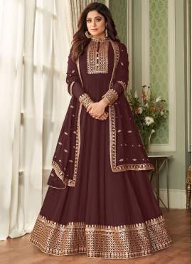 Aspiring Shamita Shetty Brown Faux Georgette Floor Length Designer Suit