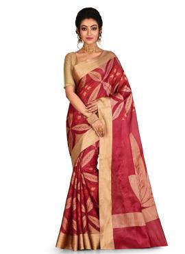 Aspiring Weaving Maroon Banarasi Silk Classic Saree