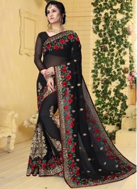 Astonishing Embroidered Georgette Designer Saree