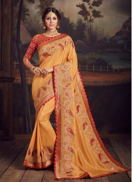 Astonishing Embroidered Mustard Poly Silk Traditional Designer Saree