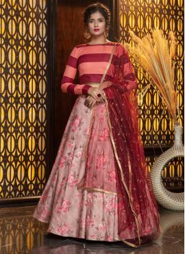 Astonishing Foil Print Pink Rayon Trendy Lehenga Choli