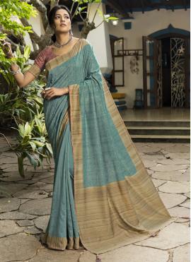 Astonishing Printed Blue Designer Traditional Saree