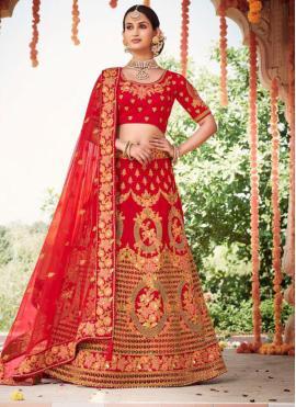 Astonishing Red Wedding A Line Lehenga Choli