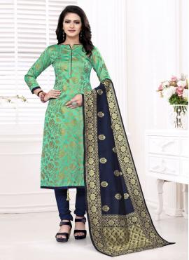 Astounding Banarasi Silk Weaving Churidar Suit