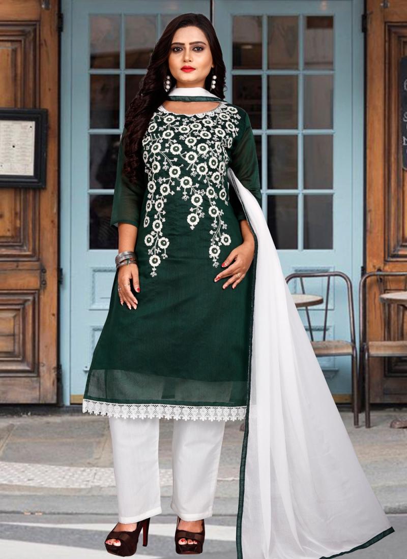 Astounding Embroidered Chanderi Cotton Green Designer Suit
