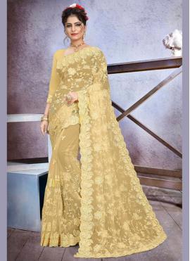 Astounding Net Beige Trendy Saree