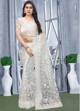 Astounding Net White Classic Saree