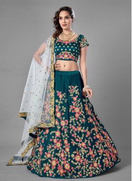 Astounding Rama Velvet Lehenga Choli