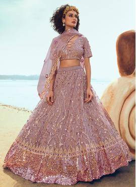 Astounding Sequins Pink Trendy Lehenga Choli