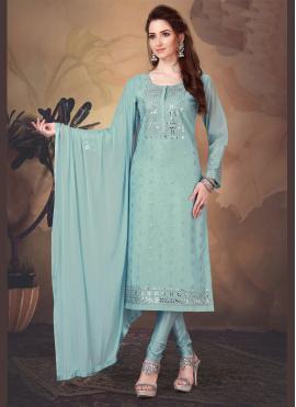 Attractive Art Silk Embroidered Trendy Salwar Suit