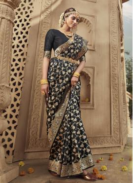 Attractive Banarasi Silk Black Weaving Designer Traditional Saree