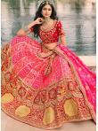 Attractive Banarasi Silk Embroidered Pink A Line Lehenga Choli - 1