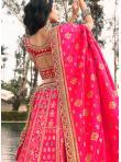 Attractive Banarasi Silk Embroidered Pink A Line Lehenga Choli - 3