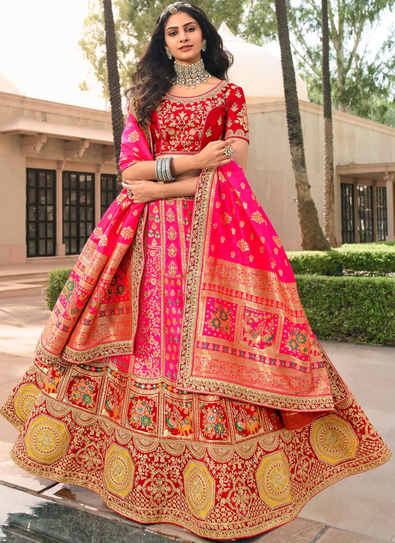 Attractive Banarasi Silk Embroidered Pink A Line Lehenga Choli